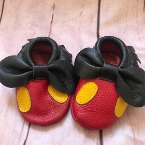 Custom made Leather Mickey Mouse Moccs 12-24M